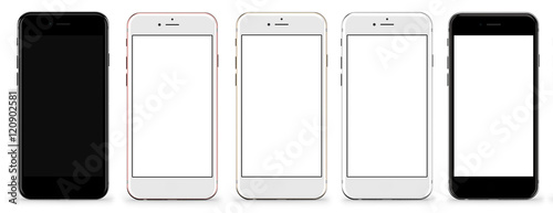 Tela  Set of five smartphones gold, rose, silver, black and black polished - blank screen and isolated on white background