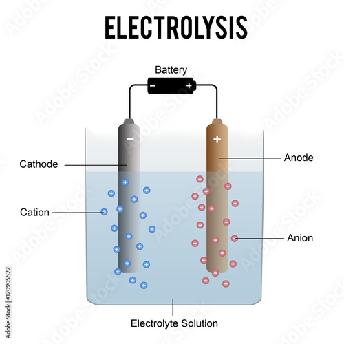 Electrolysis process (useful for education in schools) - vector illustration Canvas Print