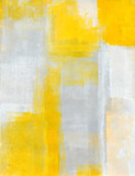 Grey and Yellow Abstract Art Painting - 120920758