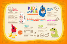 Cute Colorful Kids Meal Menu Placemat With Children Dressing Up In Costumes Vector Template