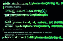 Programming Code - Green Color, Written In C# Language Syntax