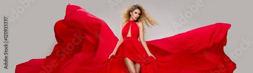 fototapeta na lodówkę Sexy blond beauty woman in red dress