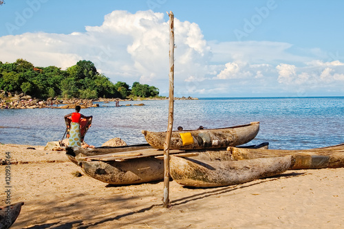 Dugout canoes at the shore of Lake Malawi