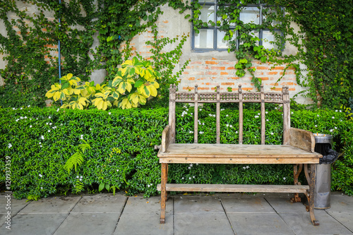 Staande foto Tuin Garden Bench at blick wall and green leaf