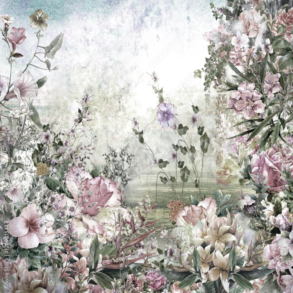Fototapety, obrazy: Akwarelowy obraz z kwiatami