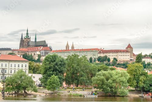 Fototapeta San Vito cathedral from Moldava riverside, Prague, Czech Republic