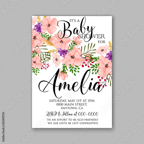 Baby shower invitation template with watercolor tropical flower baby shower invitation template with watercolor tropical flower wreath filmwisefo