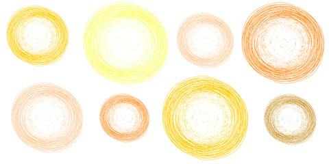 pencil colorful hand drawn circles, abstract vector illustration