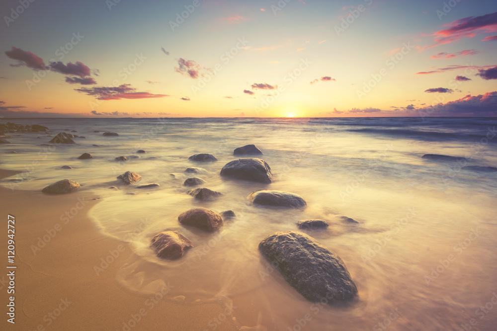 Seascape,sunset over the sea, color retro, vintage