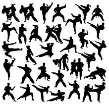 School Ff Karate Silhouettes, ...