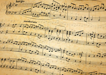 Music Notes On Stave, Old Paper Background