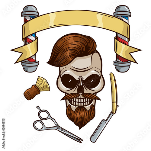 bba754f2233 Set of vector elements for men's barber shop in hipster style. Skull in  hipster style. Cartoon character skull. Logo, sticker, print for men's  barber .