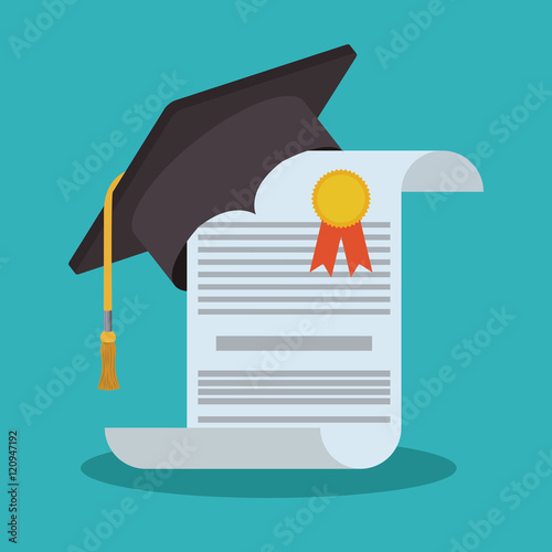 Fotografie, Obraz Graduation cap and diploma icon