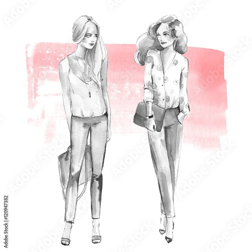 Street fashion 1. Girls. Black and white watercolor illustration on pink background