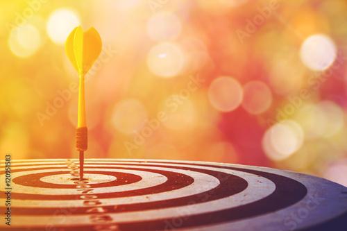 Pinturas sobre lienzo  target dart with arrow over blurred bokeh background ,metaphor to target marketing or target arrow concept