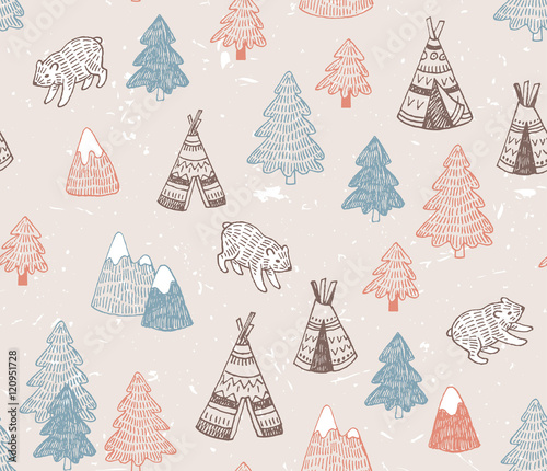 Fototapety, obrazy: Seamless pattern with North American Indian tipi homes with tribal ornament, elements of forest and mountains, bear.  Vector hand drawn surface design.