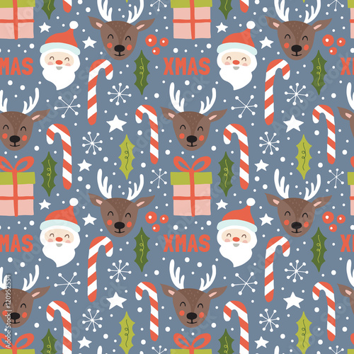 Cotton fabric Christmas holiday seamless pattern with santa and reindeer. Hand