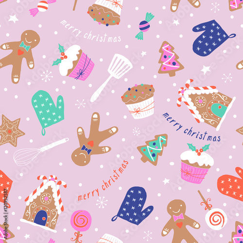 Cotton fabric Christmas holiday baking seamless pattern with gingerbread cooki