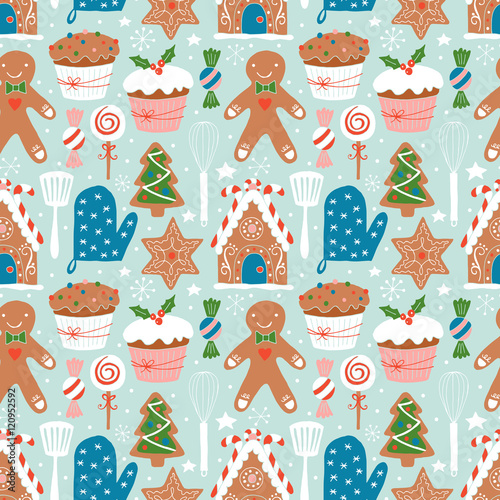 Cotton fabric Christmas holiday cookies baking seamless pattern. Hand darwing
