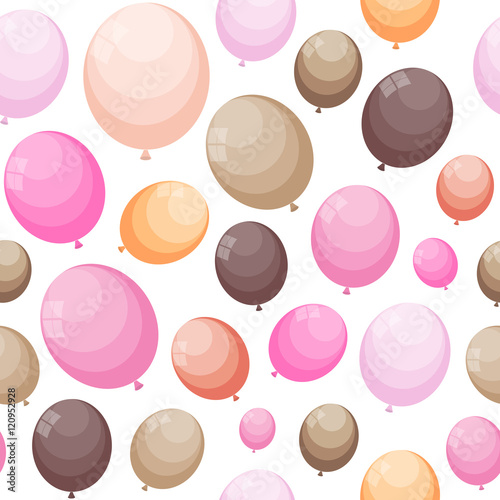Fototapeta Color Glossy Balloons Seamles Pattern Background Vector Illustra
