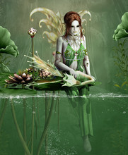 Green Fairy With Little Fantasy Dragon And Water Lilies