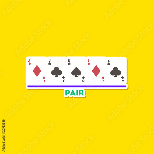paper sticker on stylish background poker pair cards плакат