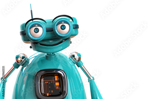 Photo  old robot happy portrait with a plece to imput your text.73
