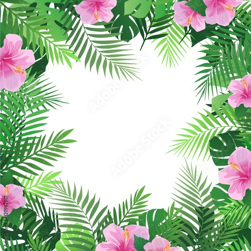 Summer Tropical Background With Palm Leaves And Hibiscus Flowers Exotic Wallpaper Card Poster