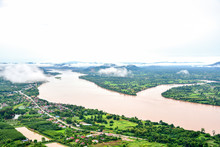 Breathtaking Scenery Of The Mekong River From Wat Pha Tak Sua In Nong Khai Province