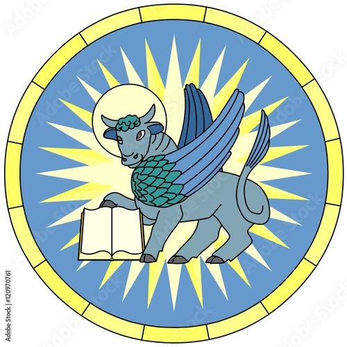 Cuadros en Lienzo Symbol of Luke the Evangelist (Winged Ox),  circular emblem