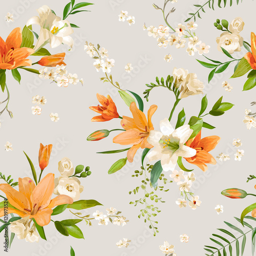 Vintage spring flowers backgrounds seamless floral lily pattern vintage spring flowers backgrounds seamless floral lily pattern mightylinksfo