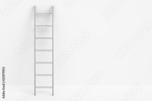 Fototapeta ladder and white wall, 3D rendering