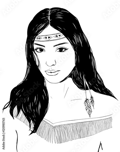 Fotomural Young american indian woman portrait, hand drawn sketch, black hair
