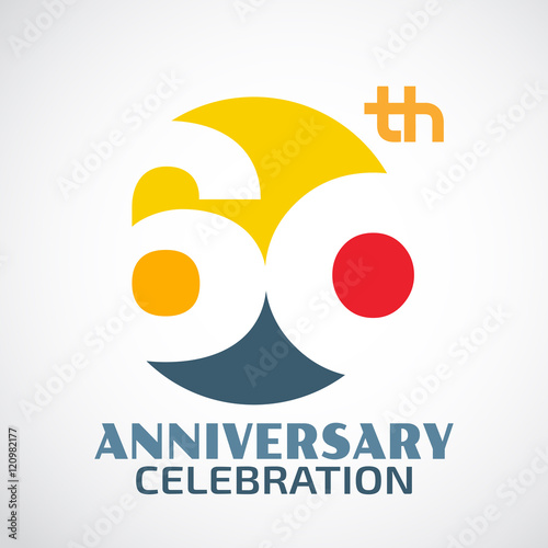 Template Logo 60th anniversary with a circle and the number 60 i Tableau sur Toile