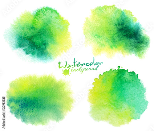 Green watercolor stains backgrounds set isolated on white Fototapete