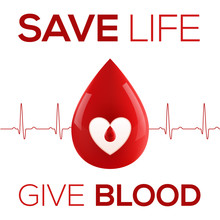 Red Vector Realistic Blood Drop With Cardiogram And Sign - Save Life Give Blood