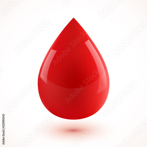 Fotografie, Obraz  Red glossy realistic 3D vector blood drop isolated on white background