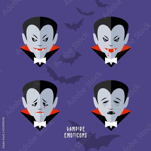 vector cartoon vampire emoticons set Poster