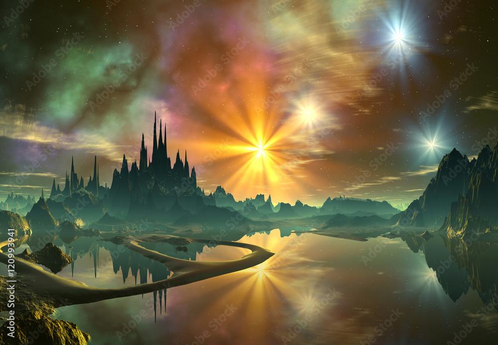 Fototapeta 3d Rendered Fantasy Alien Landscape- Illustration