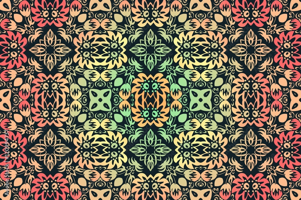 abstract floral color traditional ornament, folklore on a dark background