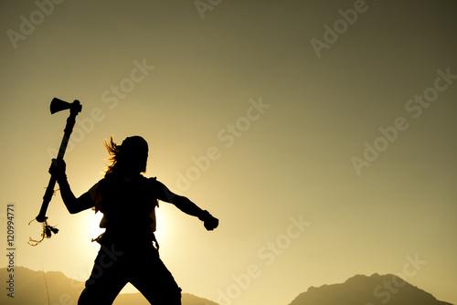 Fotografia, Obraz  baltalı moğol askeri silüet