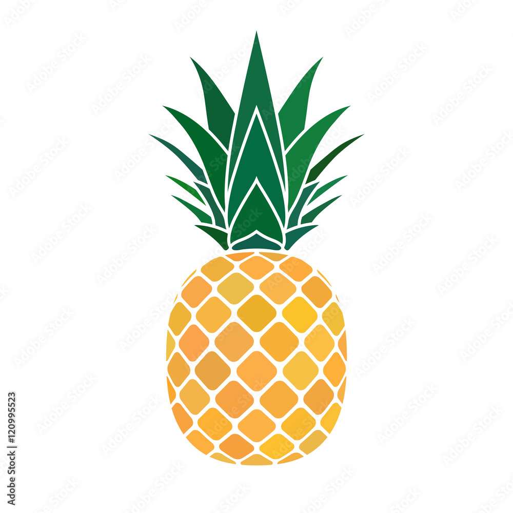 Fototapeta Pineapple with leaf icon. Tropical fruit isolated on white background. Symbol of food, sweet, exotic and summer, vitamin, healthy. Nature logo. Flat concept. Design element Vector illustration