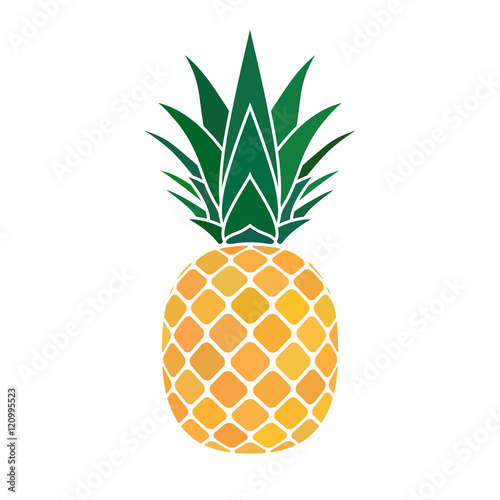 Pineapple with leaf icon. Tropical fruit isolated on white ...