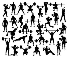 Sport Silhouette Of Weightlifting And Bodybuilding, Art Vector Design