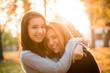 canvas print picture - Friends portrait at sunset