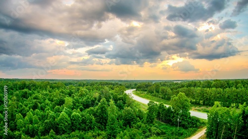 Foto op Plexiglas Groene sky and clouds sunset landscape over york south carolina