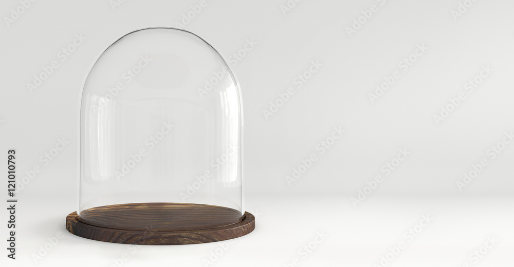 Fototapety, obrazy: Glass dome with wooden tray on white background