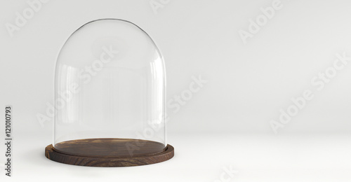 Fotografia  Glass dome with wooden tray on white background