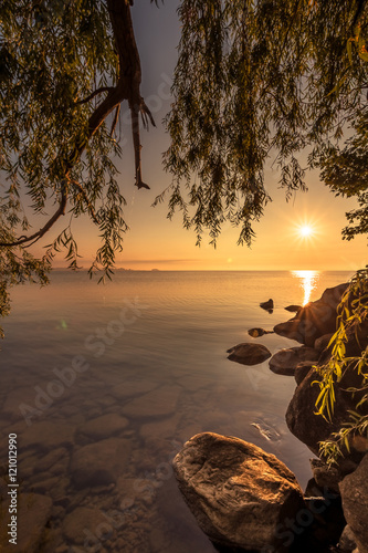 View of Simcoe lake during sunrise from Sibbald Point Provincial Park, Ontario, Canada
