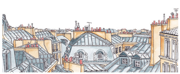 FototapetaParis rooftops skyline